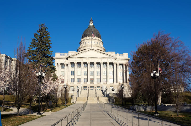 Edificio del capitolio en la primavera temprana de Salt Lake City, Utah, St unido imagen de archivo
