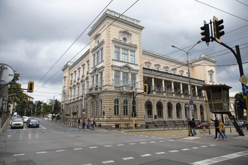 Edificio del club militar en el centro de la ciudad de Sof?a, Bulgaria foto de archivo