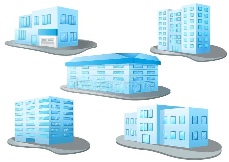 Edificio del diseño de la mezcla en el fondo blanco ilustración del vector