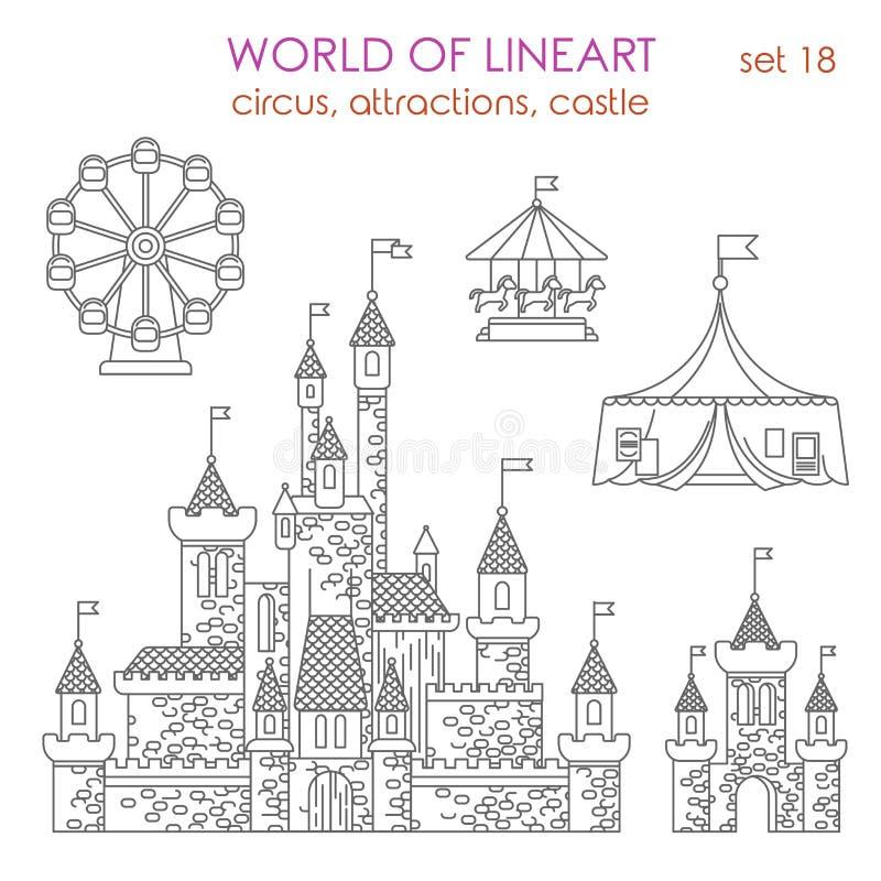 Edificio del entretenimiento de la arquitectura de Lineart: atracciones del circo libre illustration