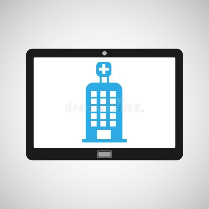 Edificio del hospital de la salud del dispositivo de la tecnología ilustración del vector