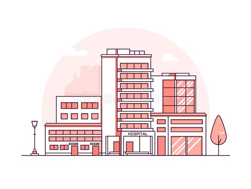 Edificio del hospital - línea fina moderna ejemplo del vector del estilo del diseño libre illustration