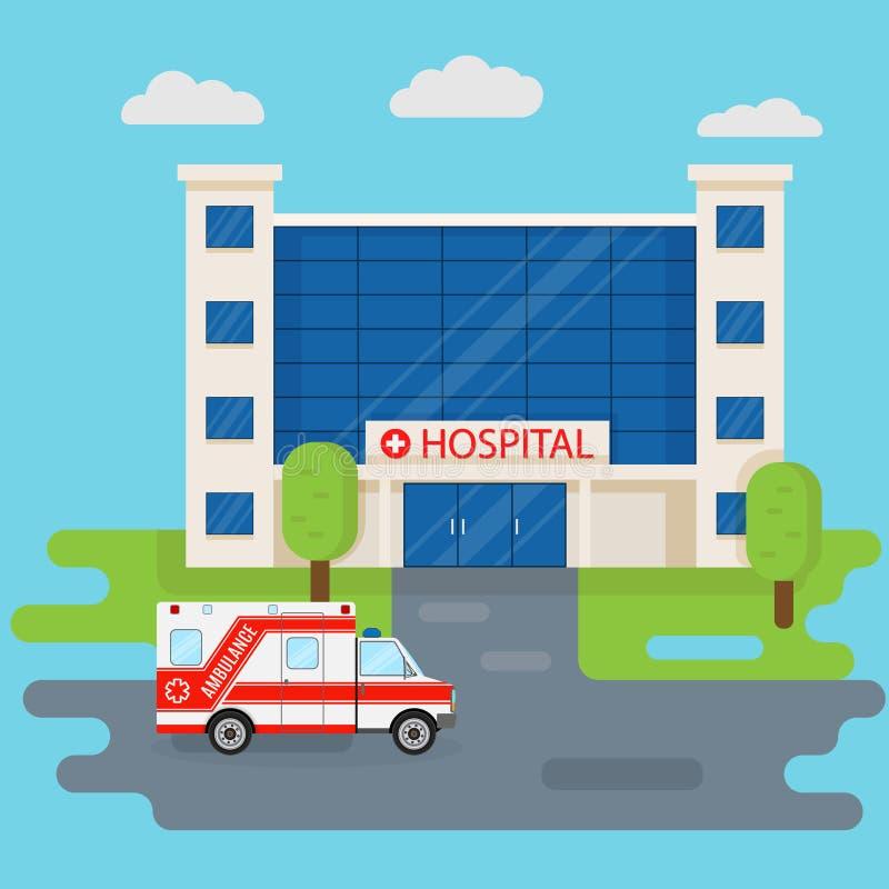 Edificio del hospital y coche de la ambulancia en estilo plano Concepto MÉDICO Diseño del ataque frontal de la clínica de la medi ilustración del vector