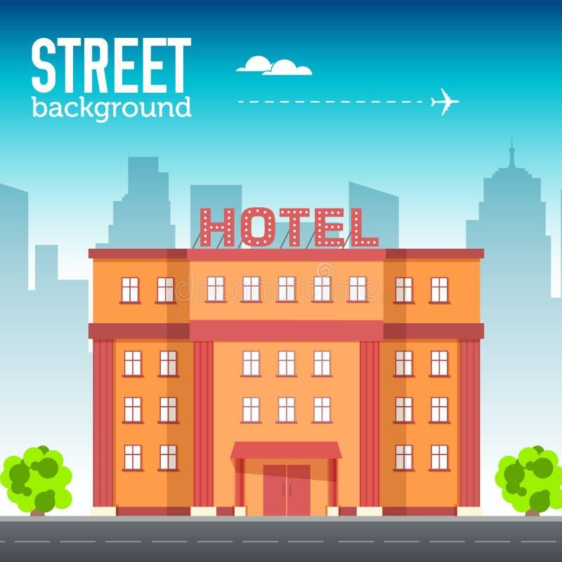 Edificio del hotel en espacio de la ciudad con el camino en concepto plano del fondo del estilo Diseño del ejemplo del vector stock de ilustración