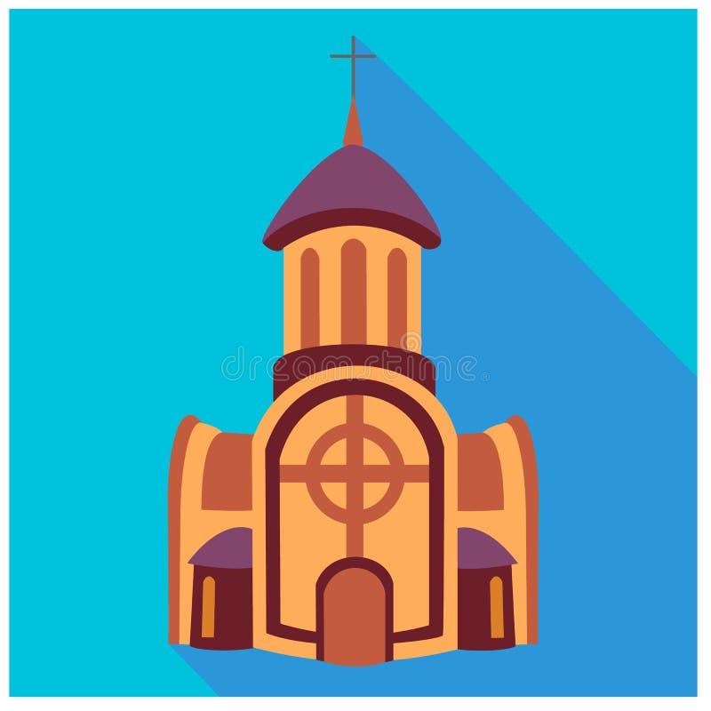 Edificio del monasterio de la iglesia de Brown con el campanario y cruz en el top y dos extensiones con las ventanas en el latera libre illustration