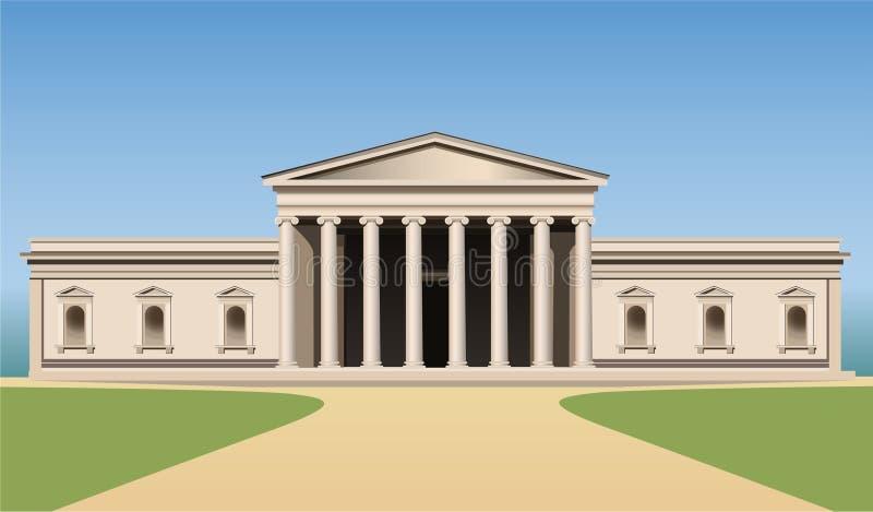Edificio del museo con vector de las columnas stock de ilustración