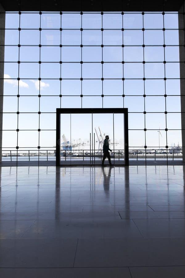 Edificio del negocio en Hamburgo con las ventanas grandes y una vista del puerto famoso imágenes de archivo libres de regalías