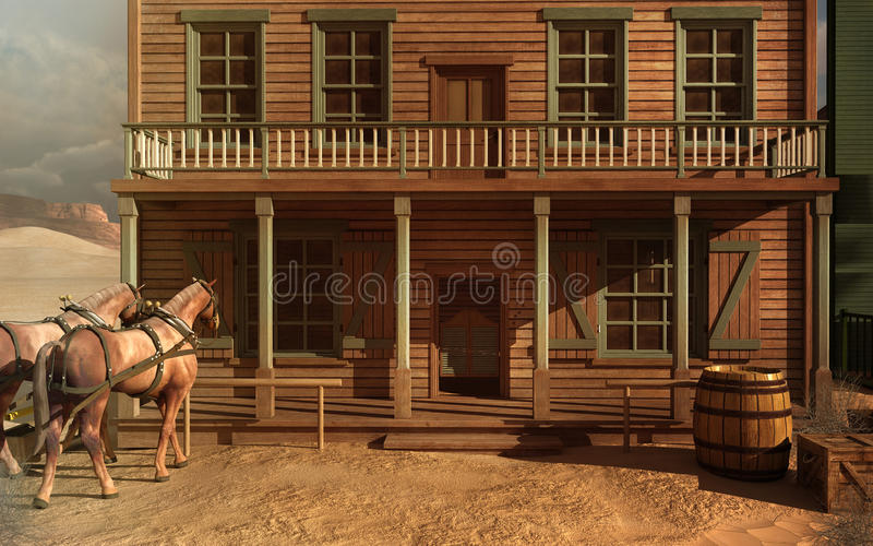 Edificio del oeste viejo ilustración del vector