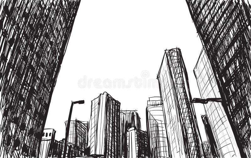 Edificio del scape de la ciudad del bosquejo en el ejemplo del drenaje de la mano de Tokio libre illustration