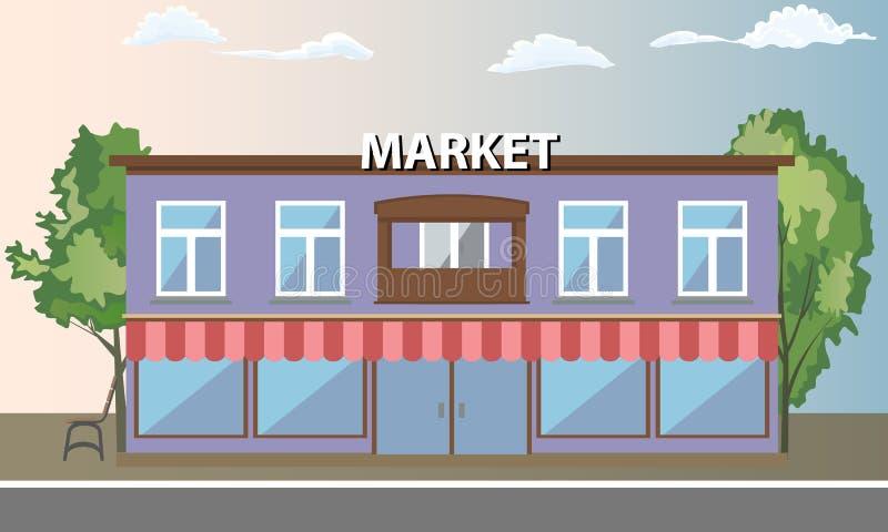 Edificio del supermercado, mercado que hace compras con vista delantera Ilustración del vector libre illustration