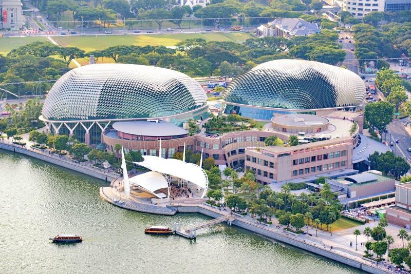 Edificio del teatro de la explanada cerca de Marina Bay, Singapur imagen de archivo