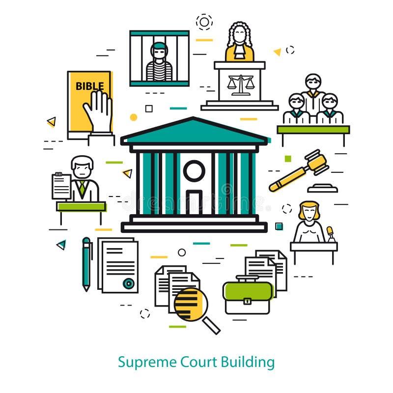 Edificio del Tribunal Supremo - concepto redondo stock de ilustración