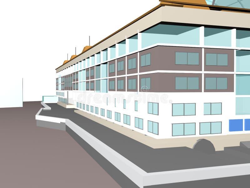 Edificio del vizualization del modelo del proyecto 3d de la arquitectura libre illustration