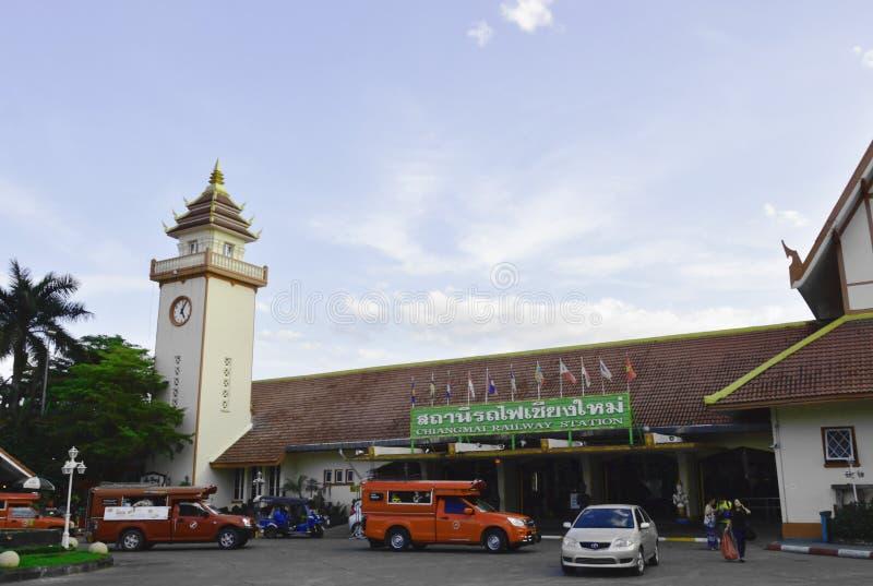 edificio delantero del ferrocarril de Chiangmai en Tailandia imagenes de archivo