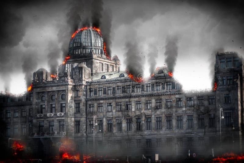 Edificio destruido apocalíptico del poste Ejemplo de Digitaces ilustración del vector