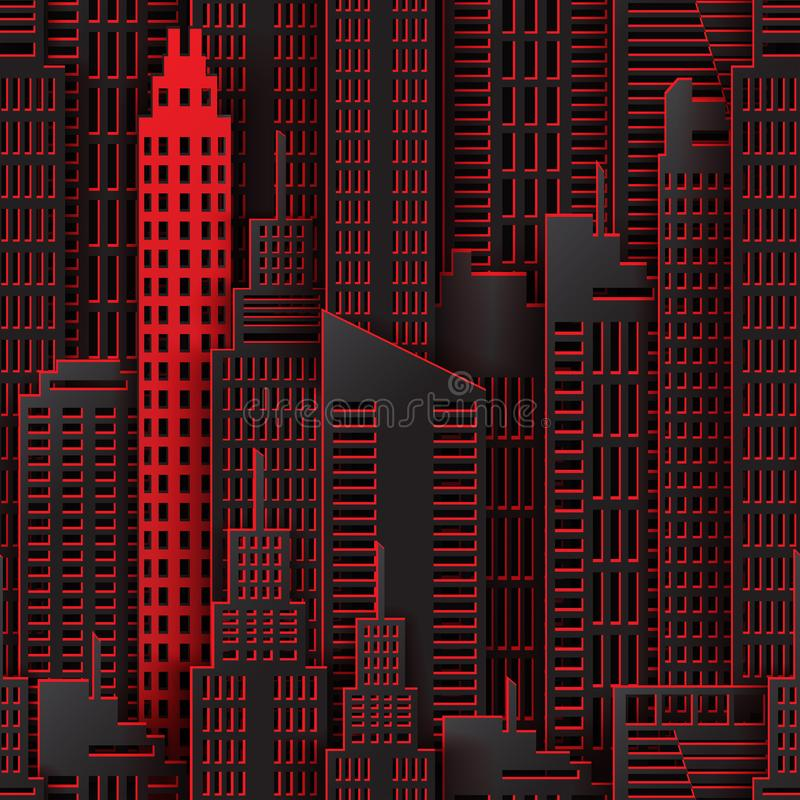 Edificio di Achitectural nella vista panoramica illustrazione vettoriale