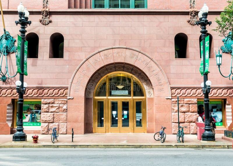 Edificio di Harold Washington Library Center in Chicago del centro fotografia stock libera da diritti