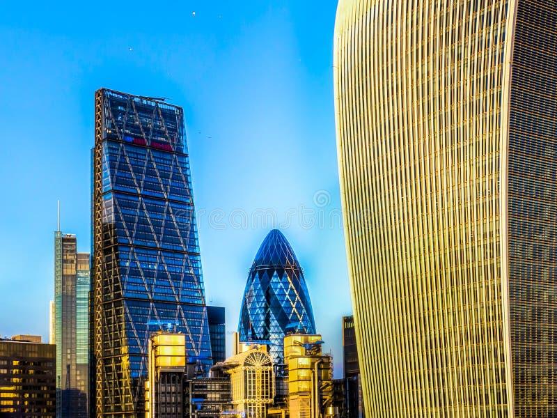 Edificio di Lloyds, Cheesegrater, cetriolino e walkie-talkie Londra fotografia stock