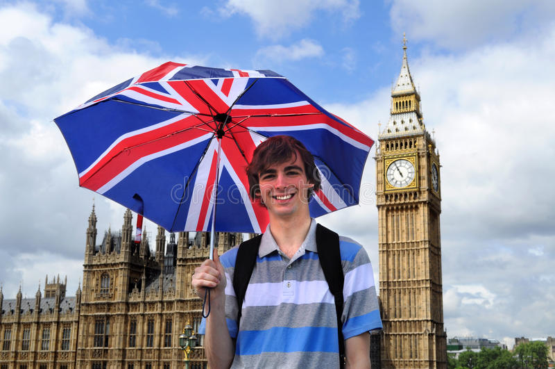 Edificio di Parliarment, di Big Ben e turista a Londra immagine stock libera da diritti