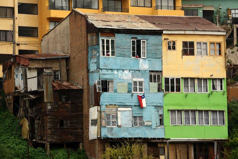 Edificio di Residentail nella vecchia città di Valparaiso Cile fotografia stock