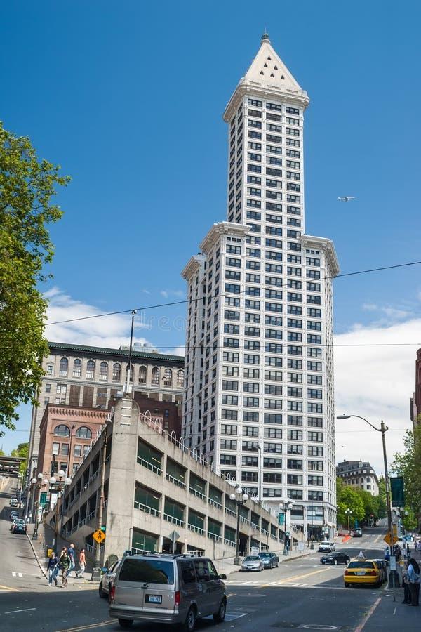Edificio di Smith Tower a Seattle, WA fotografie stock libere da diritti