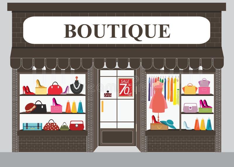 Edificio e interior de tienda de ropa con los productos en estantes stock de ilustración