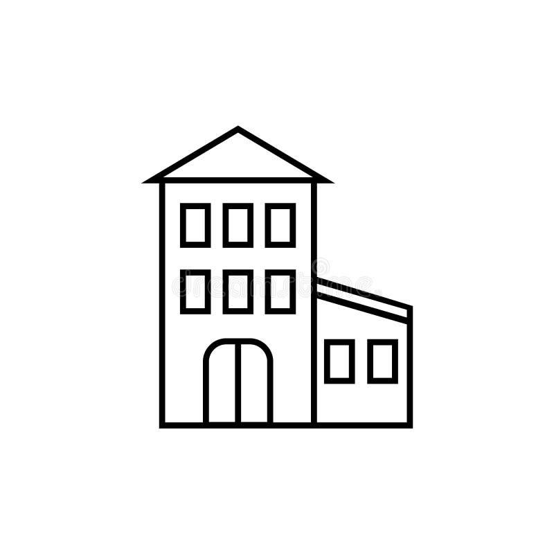 Edificio en el fondo blanco ilustración del vector