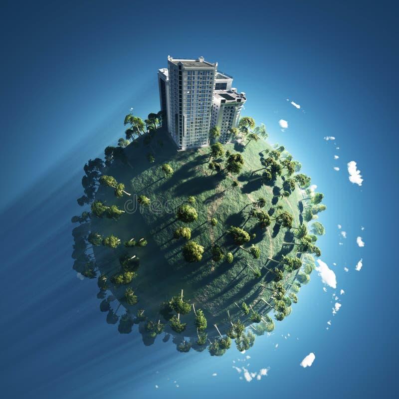 Edificio en el planeta verde imagen de archivo