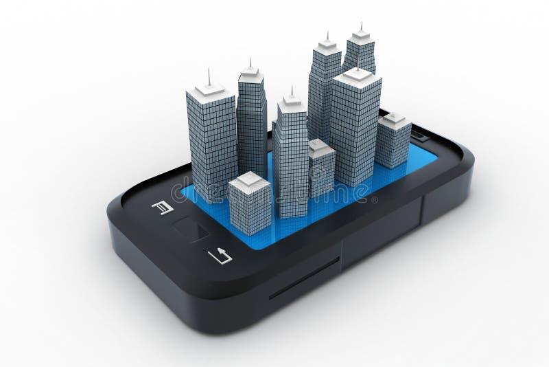 Edificio en el top de smartphone stock de ilustración
