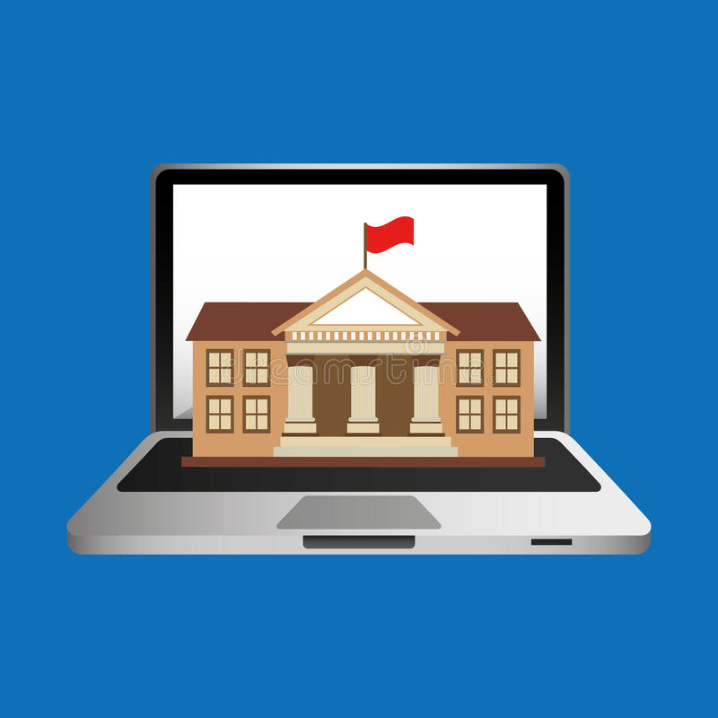 Edificio en línea de la universidad del concepto de la educación ilustración del vector