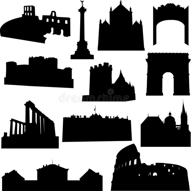 Edificio europeo stock de ilustración