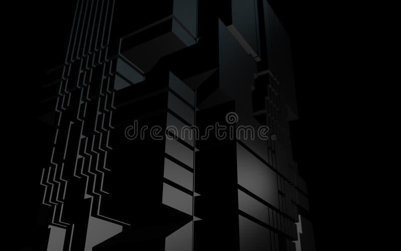Edificio futurista de la forma geométrica abstracta en la noche libre illustration