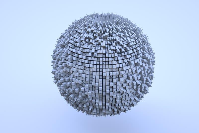 Edificio futurista del extracto 3D en el movimiento Representación agradable 3D ilustración del vector