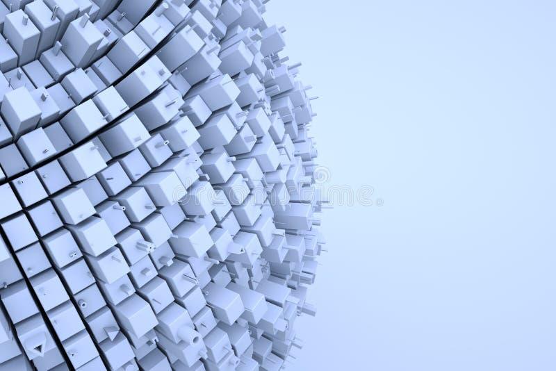 Edificio futurista del extracto 3D en el movimiento Representación agradable 3D stock de ilustración