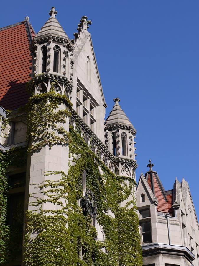 Edificio gótico del estilo, Universidad de Chicago fotografía de archivo