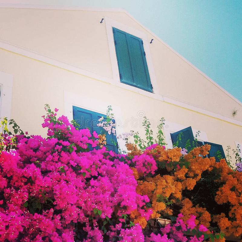 Edificio griego a finales del verano fotografía de archivo