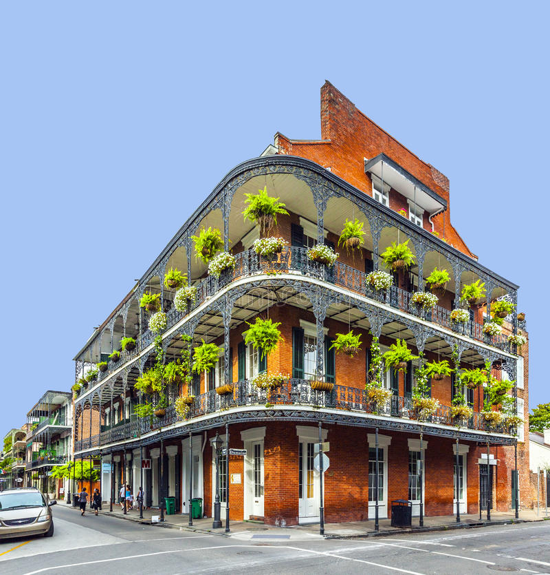 Edificio histórico en el barrio francés en New Orleans fotografía de archivo libre de regalías
