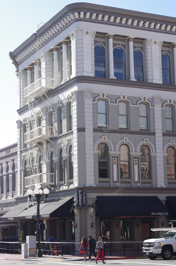 Edificio histórico en el cuarto de San Diego's Gaslamp foto de archivo libre de regalías