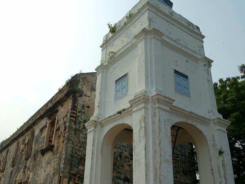 Edificio histórico en la colina de San Pablo en Melaka fotos de archivo libres de regalías
