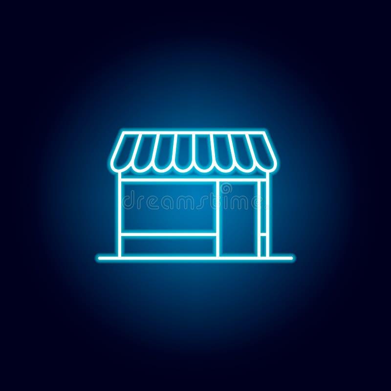 Edificio, icono de neón de la tienda Icono superior del dise?o gr?fico de la calidad en el estilo de ne?n Muestras e icono para l ilustración del vector