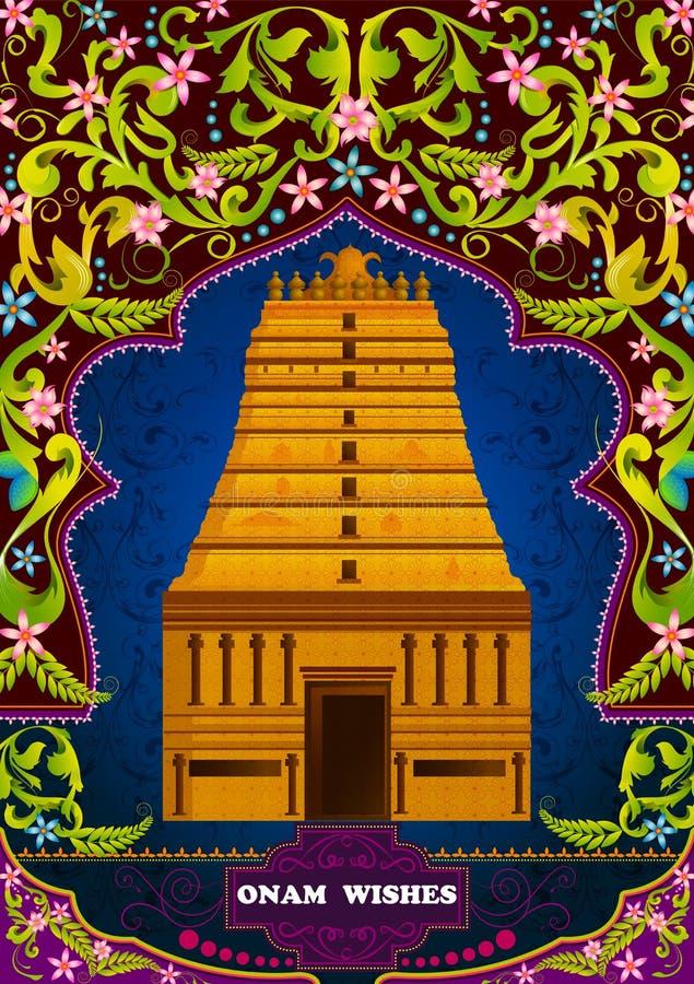Edificio indio del sur de la estructura del templo para Onam feliz ilustración del vector