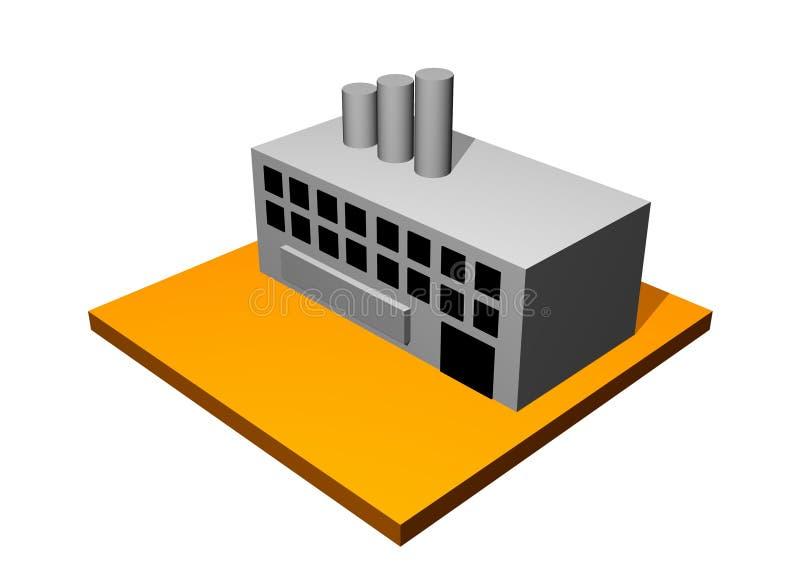 Edificio industrial de la fábrica stock de ilustración