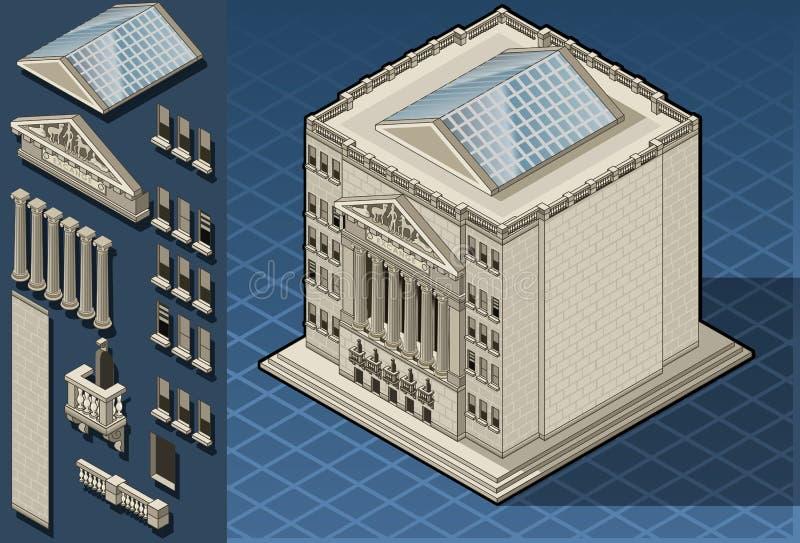 Edificio isométrico de la bolsa de acción en Nueva York ilustración del vector