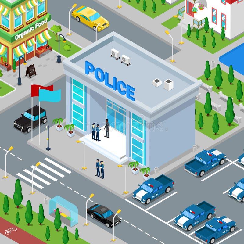 Edificio isométrico del Departamento de Policía con el policía y el coche policía stock de ilustración