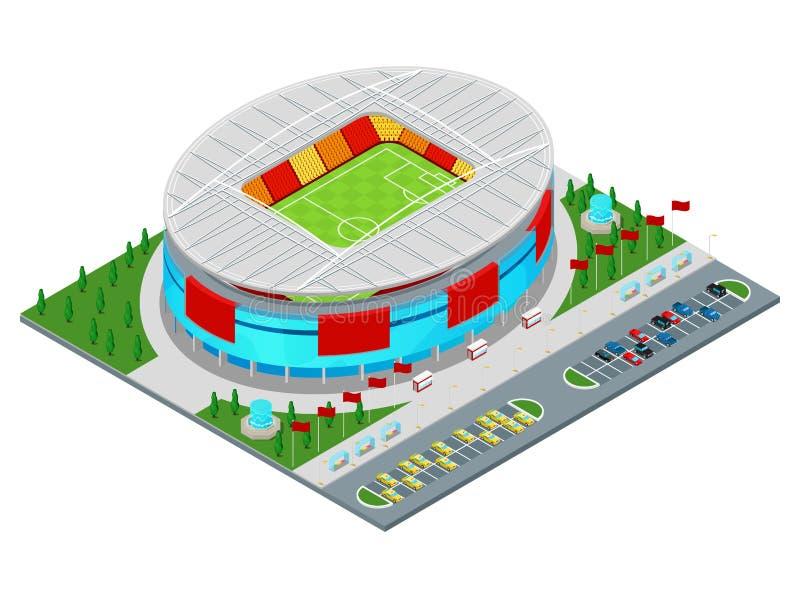 Edificio isométrico del estadio de fútbol del fútbol libre illustration