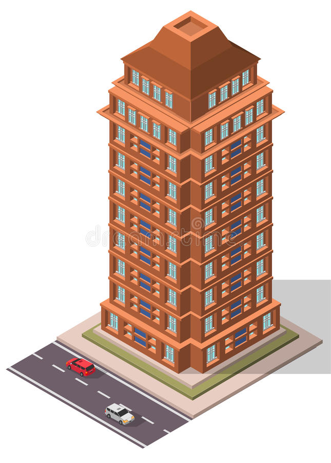Edificio isométrico del lugar de trabajo de la oficina del vector ilustración del vector