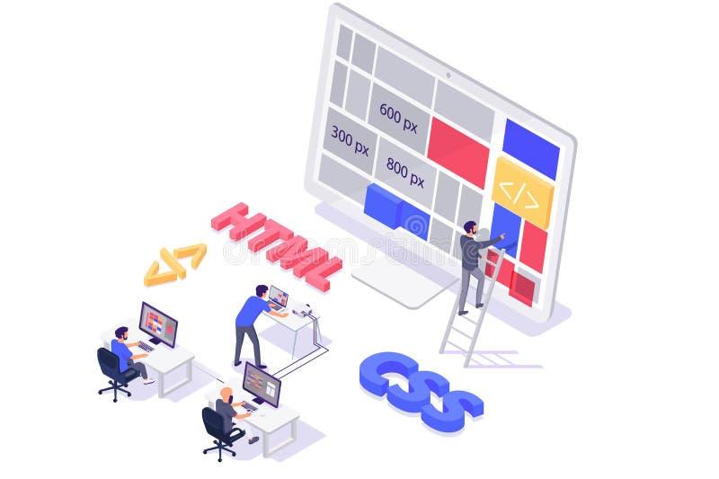 Edificio isométrico del trabajo en equipo 3d y hacer el nuevo sitio moderno de la disposición libre illustration