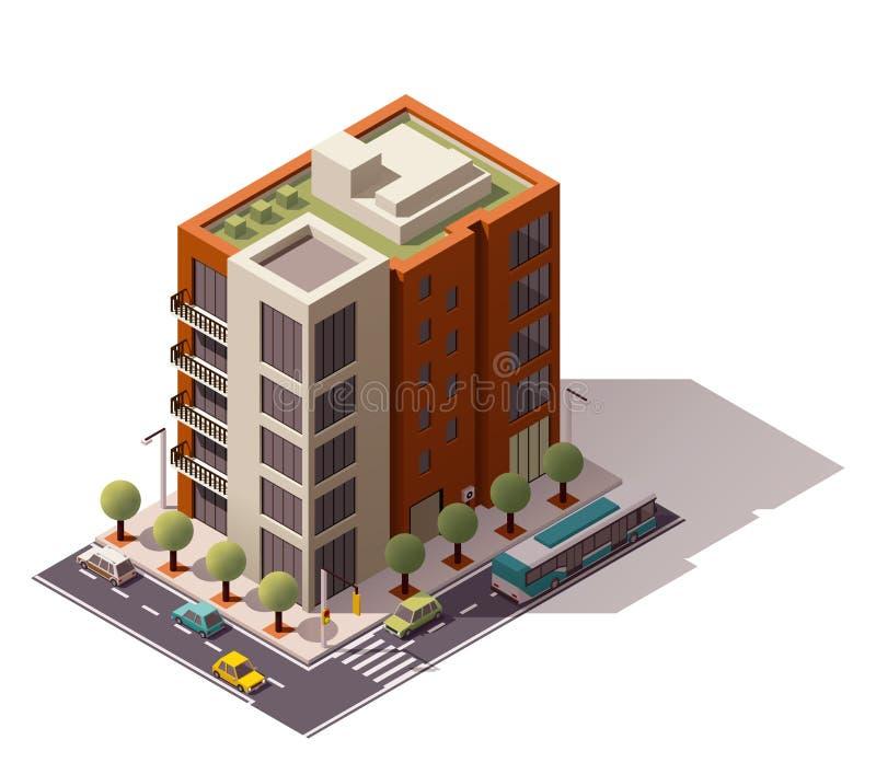 Edificio isométrico del vector stock de ilustración