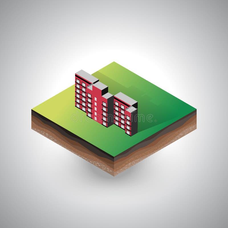 Edificio isométrico en el pedazo de suelo libre illustration