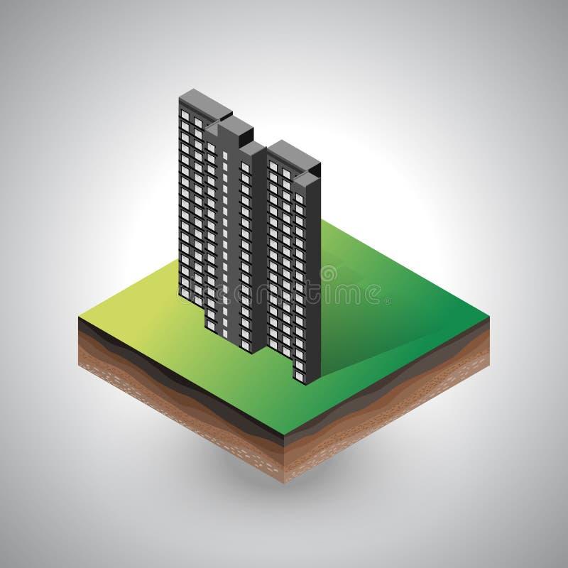 Edificio isométrico en el pedazo de suelo stock de ilustración